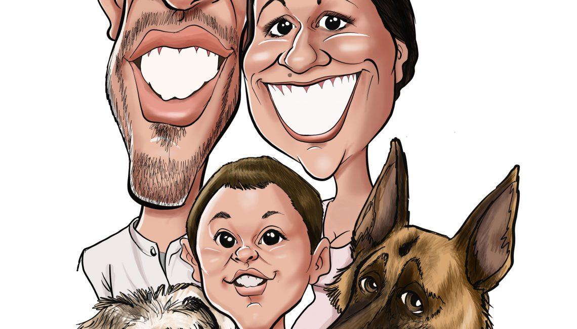karikatur-familie-hund-vom-foto